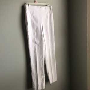 White straight fit pull on pants